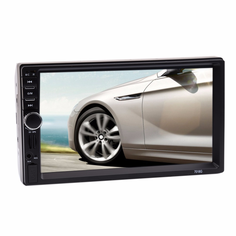 7 2Din In-dash Car GPS Navigation Touch Screen Bluetooth FM Radio Stereo MP3 Mp5 Multimedia Player w/ Rearview Camera Euro Map 7 touch screen 7021g car bluetooth mp3 mp4 mp5 player gps navigation support tf usb aux fm radio rearview camera steering wheel
