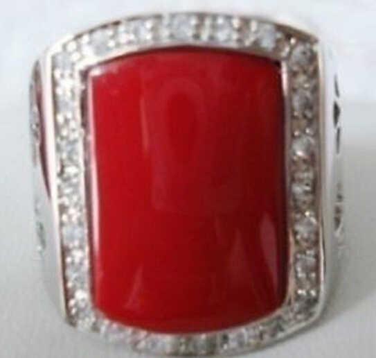 Zcd 322 + + + изысканный красный коралл серебро мужские кольца