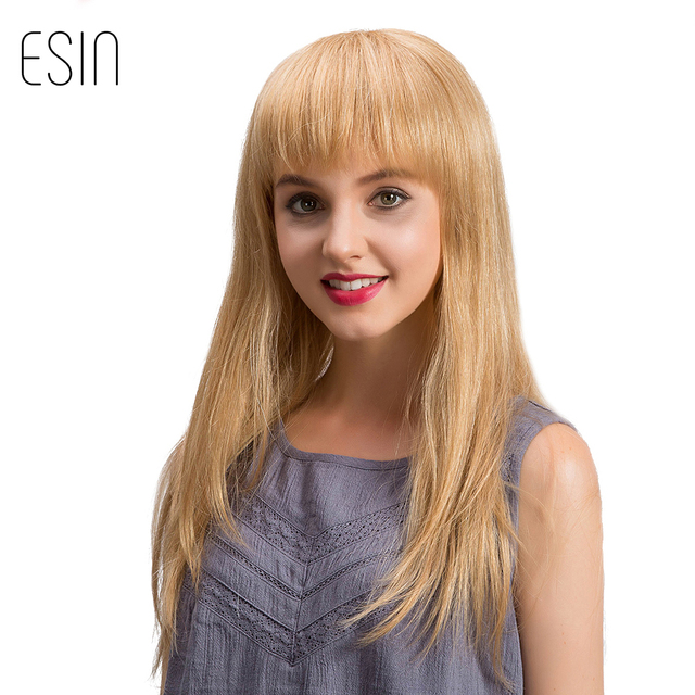 ESIN 22 inch Straight Hair Wigs for Women Long Blonde Wigs Mixed 70% Human  Hair d4b03dc6f