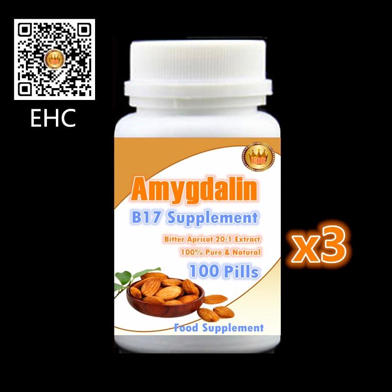 3 bottle 300PCS, Vitamins B17, Amygdalin,Bitter Apricot Extract Almond Anti aging,Anti cancer,Reduce blood sugar and lipids