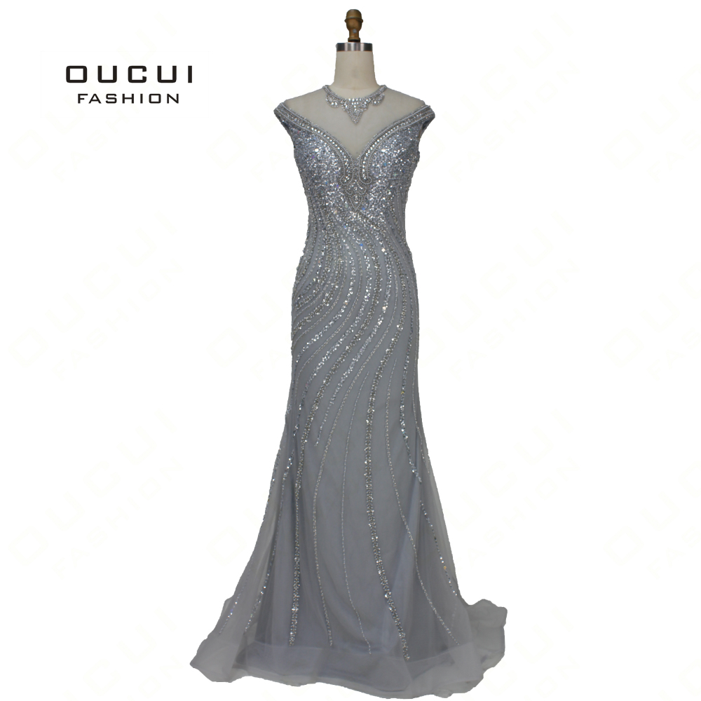 Oucui New Arrivals Robe De Soiree   Prom     Dresses   2019 Champagne Gray Cap Sleeve Floor-Length With Beaded Party   Dress   Gown OL103383