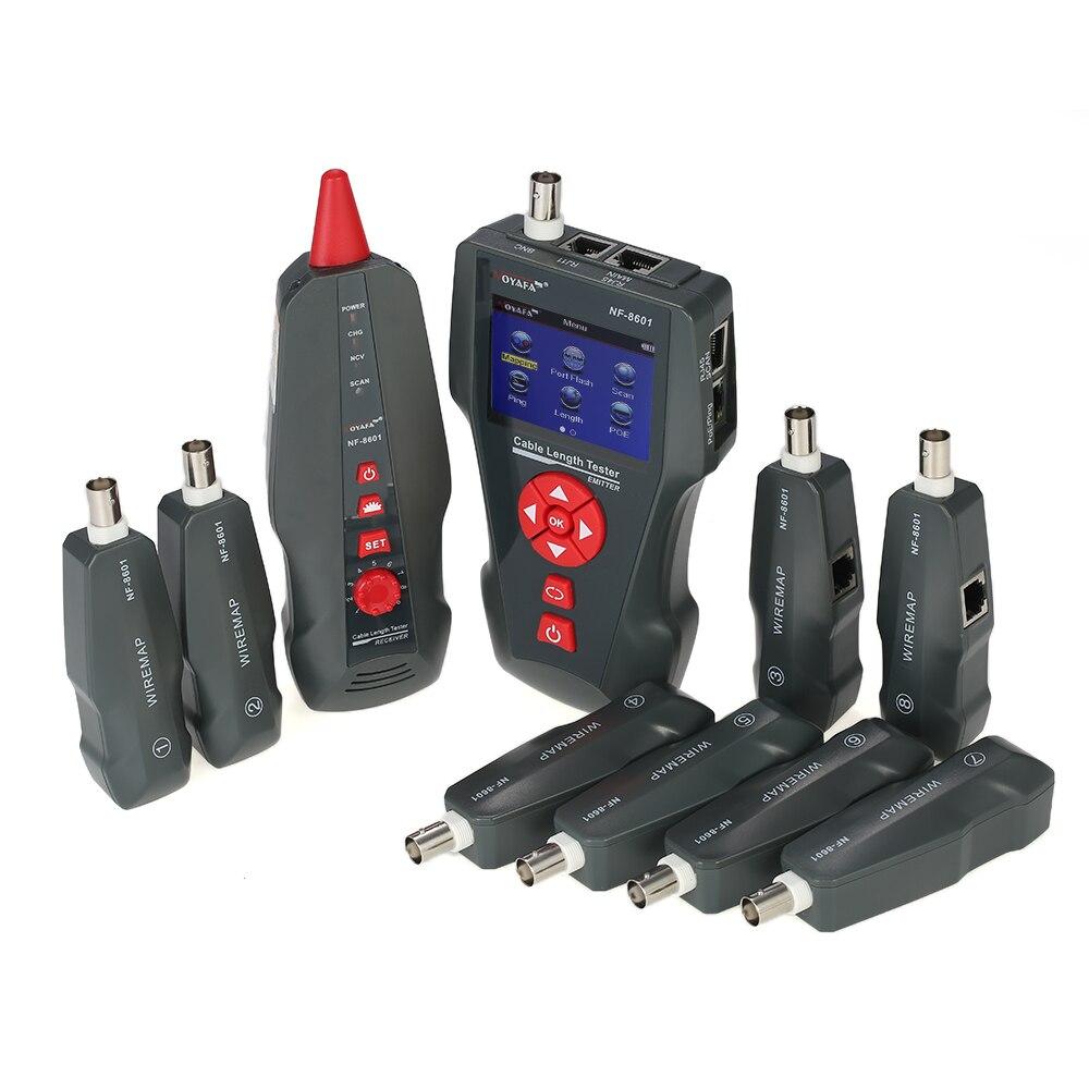 Testeur de câble réseau LCD multifonctionnel traqueur de fil RJ11 RJ45 BNC détecteur de longueur de fil avec 8 adaptateurs à distance PING POE test