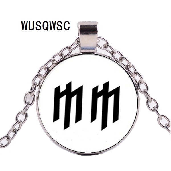 WUSQWSC New Marilyn Manson Necklace Glass MM Logo Pendant Jewelry Glass Dome Pendant Necklace