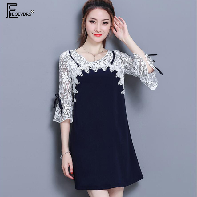278b562823a New Arrival Summer 2018 Korean Style Women Fashion Casual Loose Plus Size  Lace Chiffon Hollow Out Faux Two Piece Dress 5XL 3211