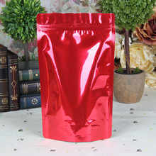 100PCS/Lot 14*20cm  Red  Zipper Aluminum Foil Resealable Valve Package Pouches Grocery Coffee Powder Nuts Pack Bags
