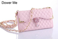 Dower Me Luxury Diamond Flower Crystal Pendant Flip Wallet Handbag Grid Leather Case Cover With Chain For iPhone X 8 7 6 6S Plus