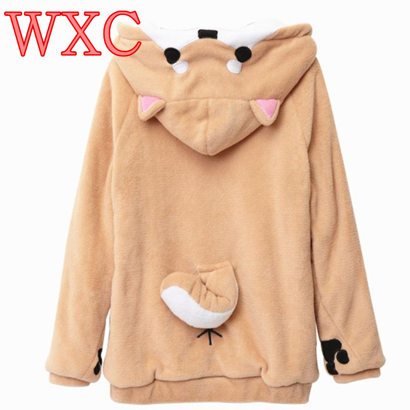 Doge Women Hoodies Ear Hoodie Pouch Womens Clothing Pullover Sweatshirt Vetement Kawaii Japanese Anime Tail WXC