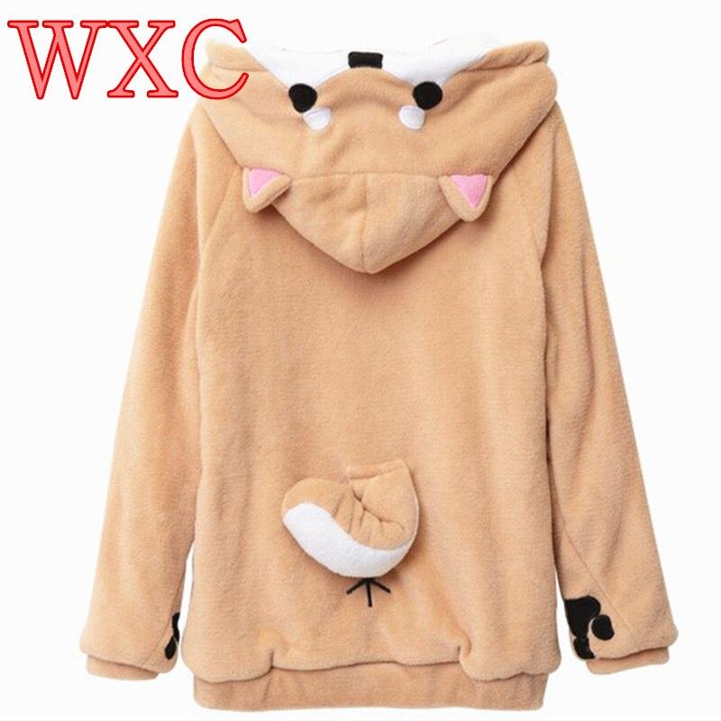 Doge sweat à capuche pour femme oreille capuche pochette vêtement femme pull sweat Vetement Kawaii japonais Anime queue WXC