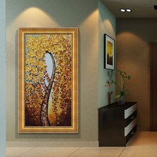 Handpainted Canvas Wall Art Abstract Painting Modern Flowers Money Tree Palette Knife Oil Painting Home Decoration (No Frame)