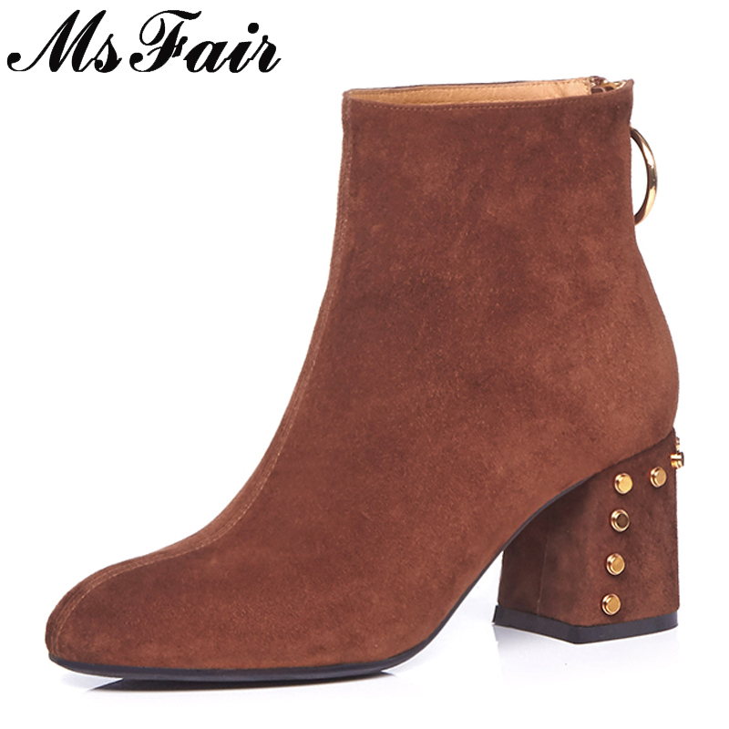 MSFAIR Pointed Toe Square heel Women Boots Casual Fashion Zipper Metal Rivet Ankle Boots Women Shoes High Heel Ankle Boots Woman camel camel boots cowhide thick heel rivet velvet fashion pointed toe boots vintage casual thermal boots
