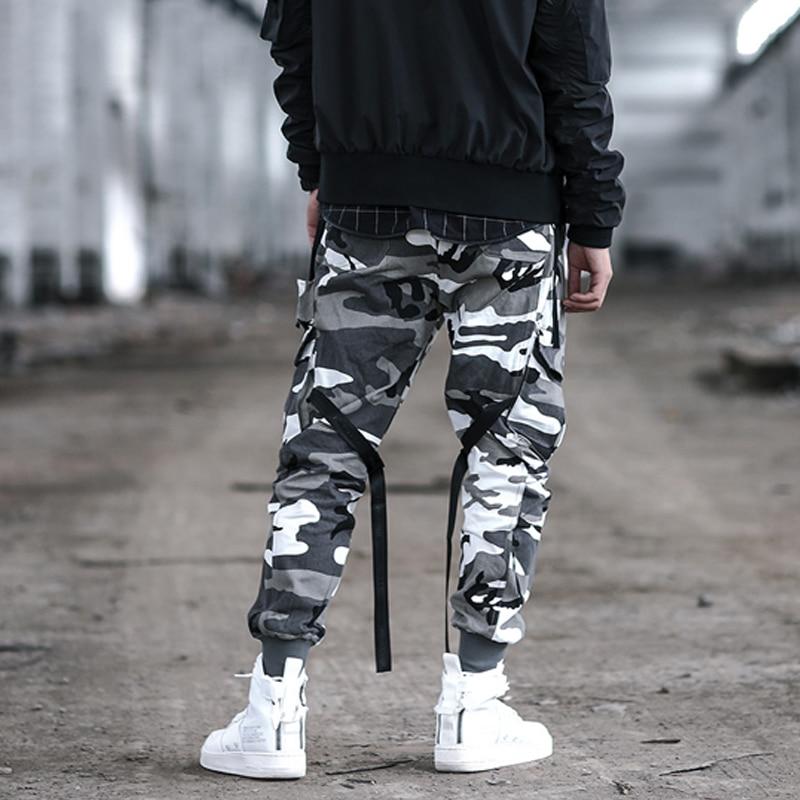 Hip Cinta Hip bolsillo Multi Algodón Black De Streetwear camouflage Pantalón Carga Camuflaje Camisetas 2019 La Hombres Pantalones Cintura Elástica Los 15q5S4OR