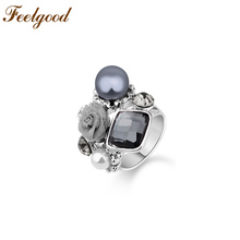 Feelgood Vintage Jewelry Antique Silver Color Crystal And Faux Pearl Rose Flower Fashion Retro Rings For Women