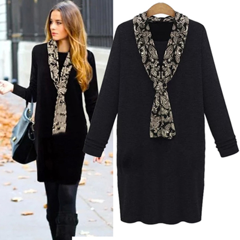 Hot Autumn And Winter 2015 Womens Casual Dress Female Loose Clothes