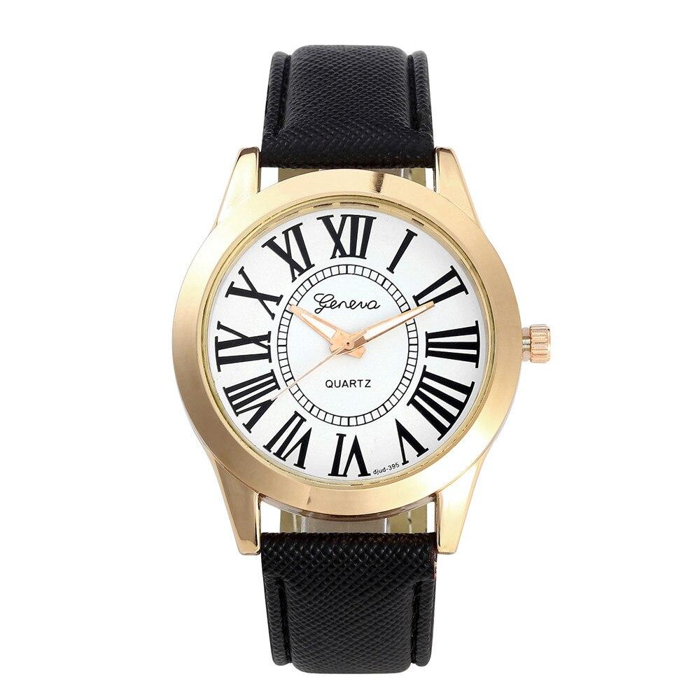 Fashion Geneva Leather PU Watch Men Women Roman Numbers Analog Quartz Wrist Watch Watches Relogio Masculine Relogio Feminino analog watch