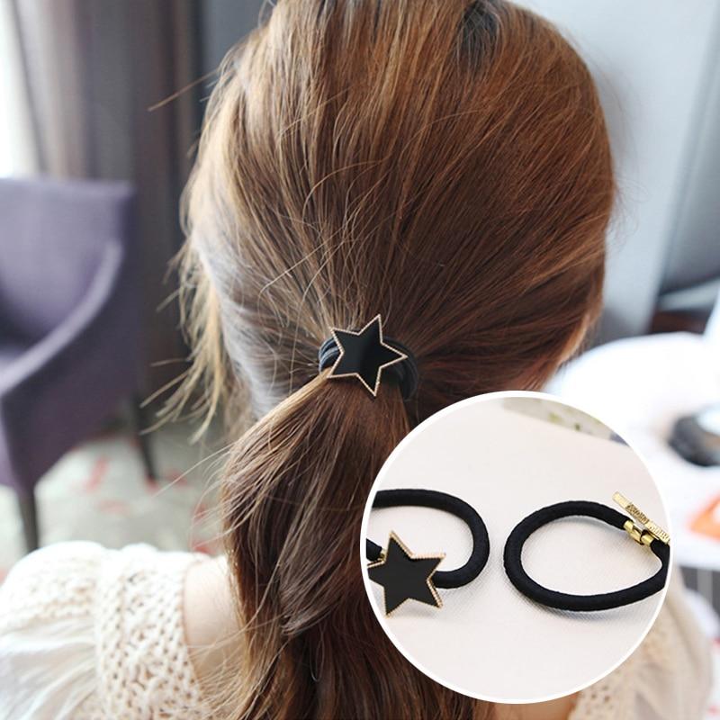 Women Simple Metal Star Hair Ropes Girls Trendy Alloy Elastic Hair Band Scrunchy Headbands Ponytail Holder Headwear Accessories in Women 39 s Hair Accessories from Apparel Accessories