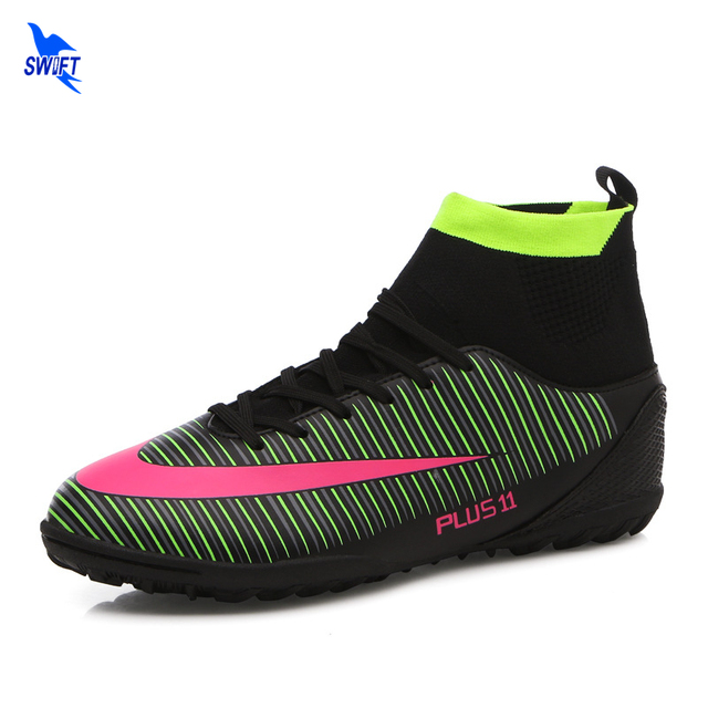 96207897fad92 Size 38-44 New Mens High Ankle Turf Indoor Soccer Cleats Futsal Shoes TF Hard  Court Sneakers Trainers High Top Football Boots