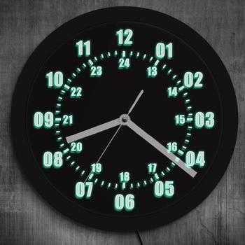 3D HA PORTATO Al Neon Orologio Da Parete Design Moderno Militare Tempo 24 Ore Notturna Saat reloj de pared Orologio Fuso Orario Del Mondo amatoriale Regalo
