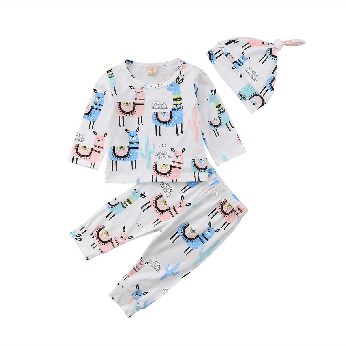 b3780bfe0c7f8 Cartoon Alpaca 3PCS Newborn Infant Baby Boy Girl Clothing Set Long Sleeve T  shirt +Pants +Hat Outfits Autumn Baby Boy Clothes