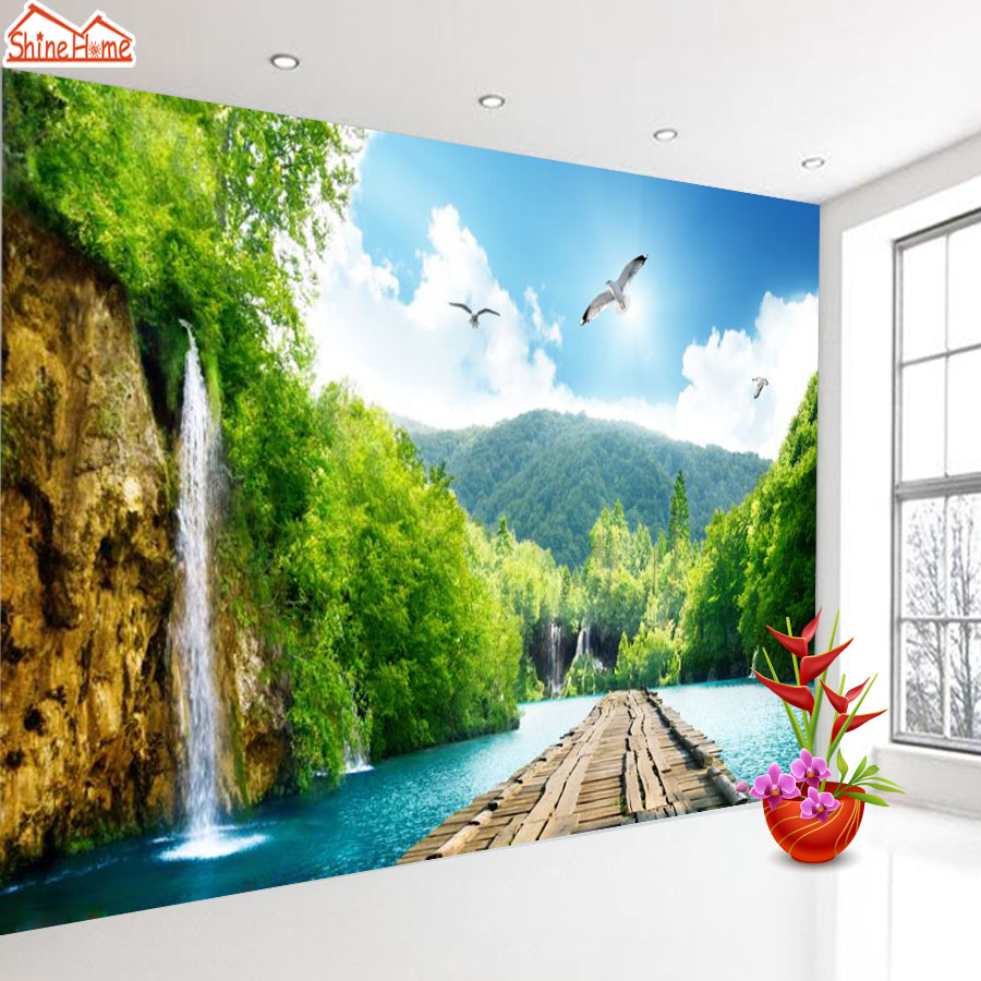 ShineHome-Wooden Path in Waterfall Water Flow Nature Wall Paper 3d Wallpaper for Walls 3 d  Living Room Background Wallpapers a1 master bedroom living room lamp crystal pendant lights dining room lamp european style dual use fashion pendant lamps