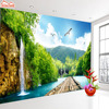 ShineHome Wooden Path In Waterfall Water Flow Nature Wall Paper 3d Wallpaper For Walls 3 D