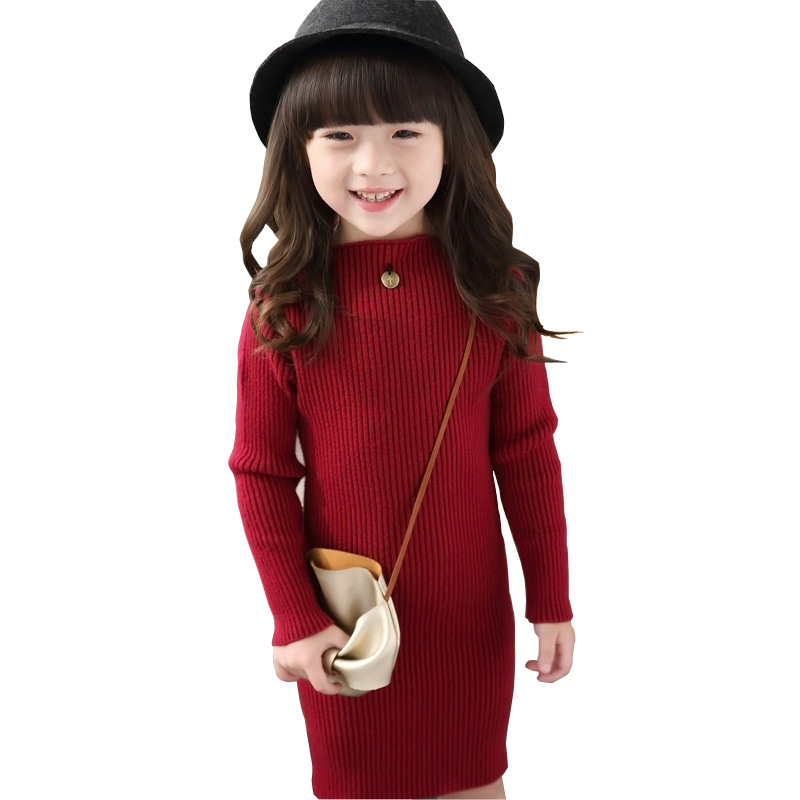 New 2017 Baby Girls Sweaters Dress Long Style Sweaters Kids Autumn Winter Children Clothing Slim Knit Girls Dress DQ650 girls dress winter 2016 new children clothing girls long sleeved dress 2 piece knitted dress kids tutu dress for girls costumes