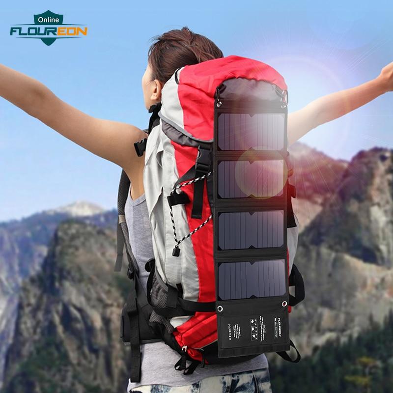 FLOUREON chargeur de cellules solaires 28 W panneau solaire avec Triple Ports USB étanche pliable pour Smartphones tablettes et Camping voyage