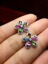 Natural multicolor tourmaline stud earrings 925 silver natural gemstone earrings Luxury flowers women's party Earrings jewelry