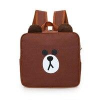 2017 new cute brown bear square shoulder bag cartoon cartoon student backpack canvas bag printing backpack