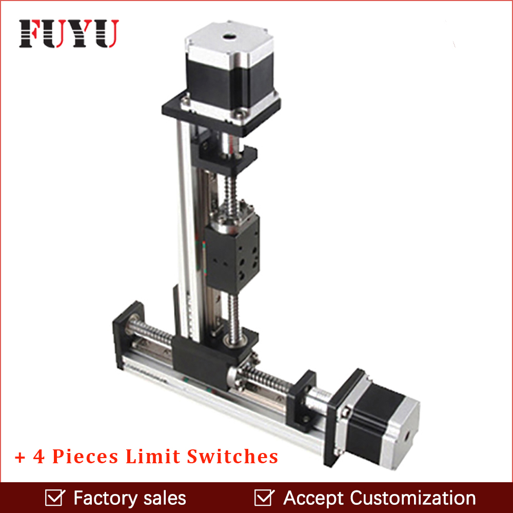 цена Free shipping cnc XY linear motion axis slide table stage ball screw stepper motor drive