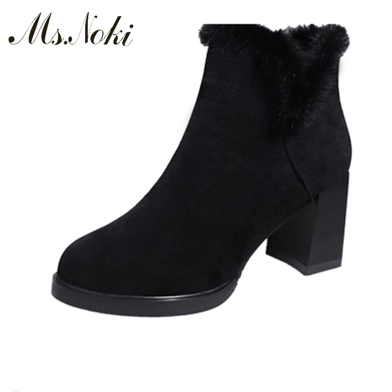 Ms. Noki 2017 Spring/Autumn Ankle Boots For Women Medium Heel Flock Good Quality Women's Fashion Short Fur Boot Platform shoes ms noki fur new fashion style black ankle boots flats pointed toe back slip on boots pu flock woman shoes with warm fur outside