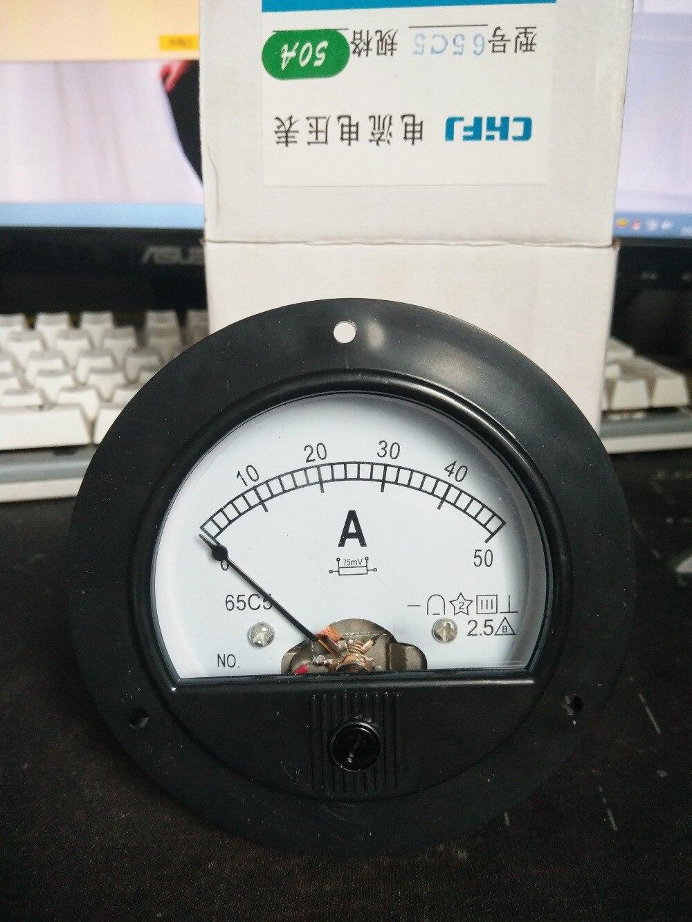 1 pièces 65C5 DC 10A 15A 20A 30A 50A 75A 100A 150A 300A 500A Rond Diamètre Analogique Ampèremètre Courant Mètre 65C5 DC 0-50A