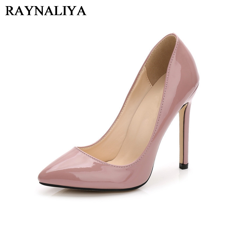 Pumps Patent Leather Thin Pink Big Size 35-46 Autumn 2017 Women Pointed Toe Shoes Spring New Chinese High Heel Shoes WZ-A0024 2017 new spring autumn big size 11 12 dress sweet wedges women shoes pointed toe woman ladies womens