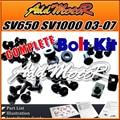Addmotor 96 unids/set negro completo perno del carenado Kit cuerpo tornillos sujetadores para SV650 SV1000 2003-2007 SV 650 1000 03-07 S63S