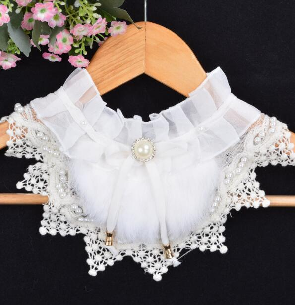Women's Korean Fashion Lace Shirt Fake Collar Lady's Pearl Beaded White Black Ties & Detachable Collar R471