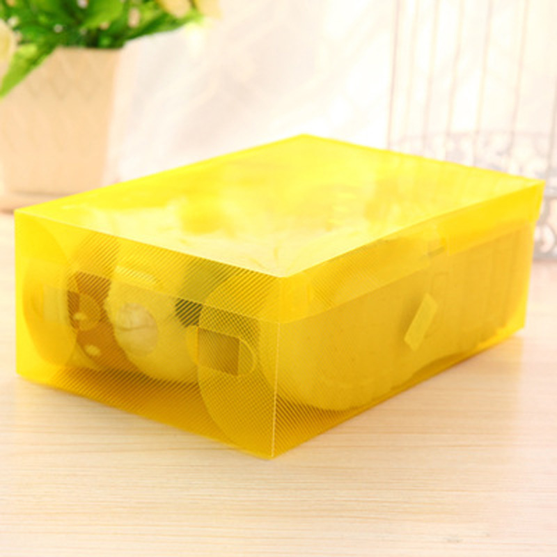 Color Plastic Clear Shoes Case Shoes Boot Box Stackable Storage Space Saving Organizer Yellow Purple Transparent Pink