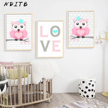 NDITB Baby Girl Nursery Wall Art Canvas Poster Print Cartoon Woodland Animal Painting Decorative Picture Nordic Kids Room Decor
