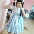 Японский Голубой Милый Dress Parasolette Печать Капли Воды Вышивка АО Sweet Lolita Dress