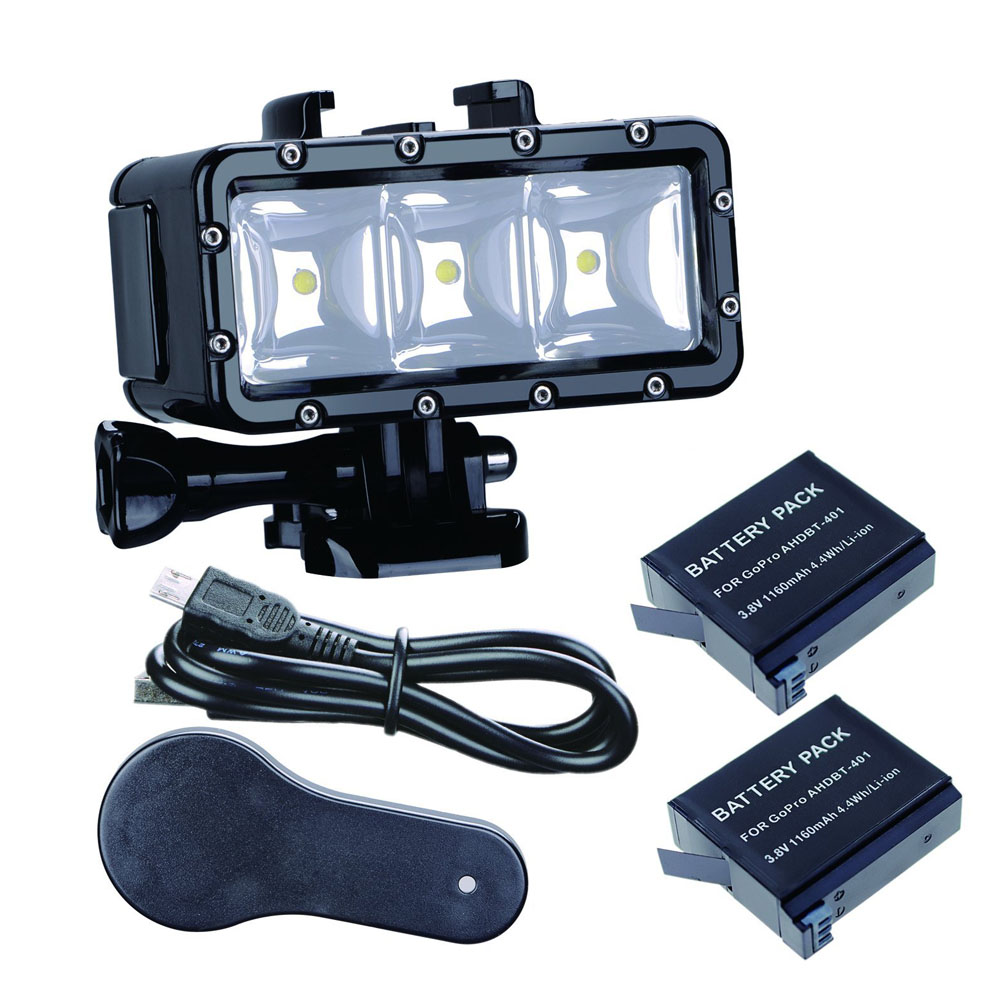 Aller Pro 30 m Plongée Flash Led Lumière lampe Sous-Marine (2xHero4 Batteries) pour GoPro Hero 6 5 3 + Session Xiaomi yi 4 K + lite SJCAM sj4000