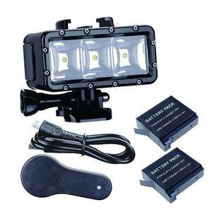 Image 1 - Ir Pro 30 m Mergulho Flash Led Luz Subaquática da lâmpada (2xHero4 Baterias) para GoPro Hero 6 5 3 + Sessão de Xiaomi yi 4 K + lite SJCAM sj4000