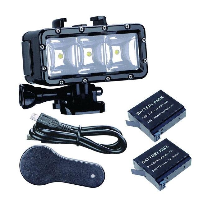 Ir Pro 30 m Mergulho Flash Led Luz Subaquática da lâmpada (2xHero4 Baterias) para GoPro Hero 6 5 3 + Sessão de Xiaomi yi 4 K + lite SJCAM sj4000