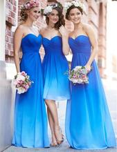 2016 Gradient Blue Bridesmaid Dresses Sweetheart A Line Floor-Length De Casamento Robe Demoiselle D'honneur Bridesmaid Dress