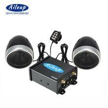 """Aileap אופנועים/טרקטורונים אודיו מערכת עם Bluetooth FM רדיו Aux קלט Wired בקרת זוג אחד של 4 """"עמיד למים רמקולים"""