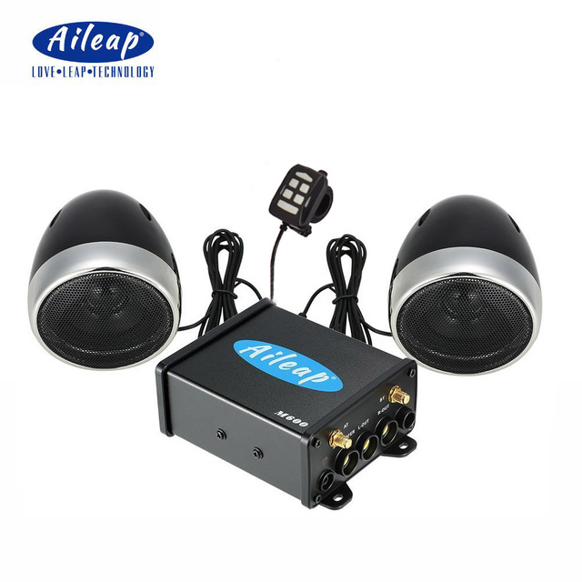 """Aileap Motorcycle/ATV Audio System with Bluetooth FM Radio Aux Input Wired Control One Pair of 4"""" Waterproof Speakers"""