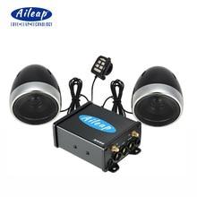 """Aileap 오토바이/atv 오디오 시스템, 블루투스 fm 라디오 aux 입력 유선 제어 4 """"방수 스피커 한 쌍"""