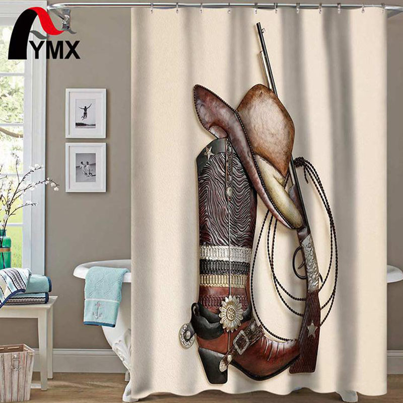 Coffee Color Shower Curtain Cowboy Boots Hat Gun Waterproof Polyester Fabric Bathroom Products Curtains Bathtub Decor