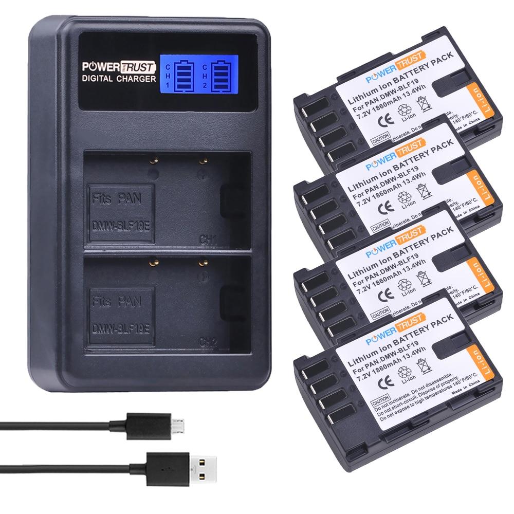 4 stücke 1860 mah DMW-BLF19E DMW-BLF19 Kamera Batterie DMW BLF19 BLF19 BLF19E + LCD Dual USB Ladegerät für Panasonic Lumix GH3 GH4 GH5
