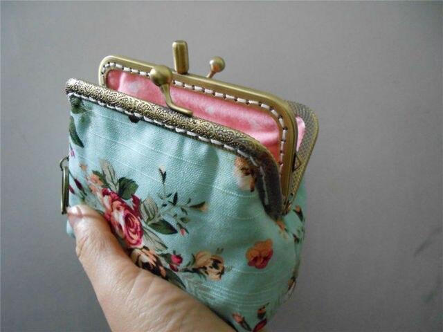 canvas clutch wallet double kisslock purse 41 inch metal frame bag - Double Frame Clutch Wallet