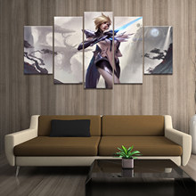 Home Decor Poster HD Pictures Prints Canvas 5 Pedaço JOGO League of Legends LOL Fiora S8 Laurent Modular Sala de estar pintura(China)