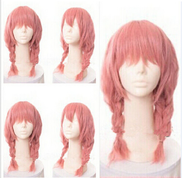 Free Shipping New Women S Long Pink Two Braids With Bangs Anime