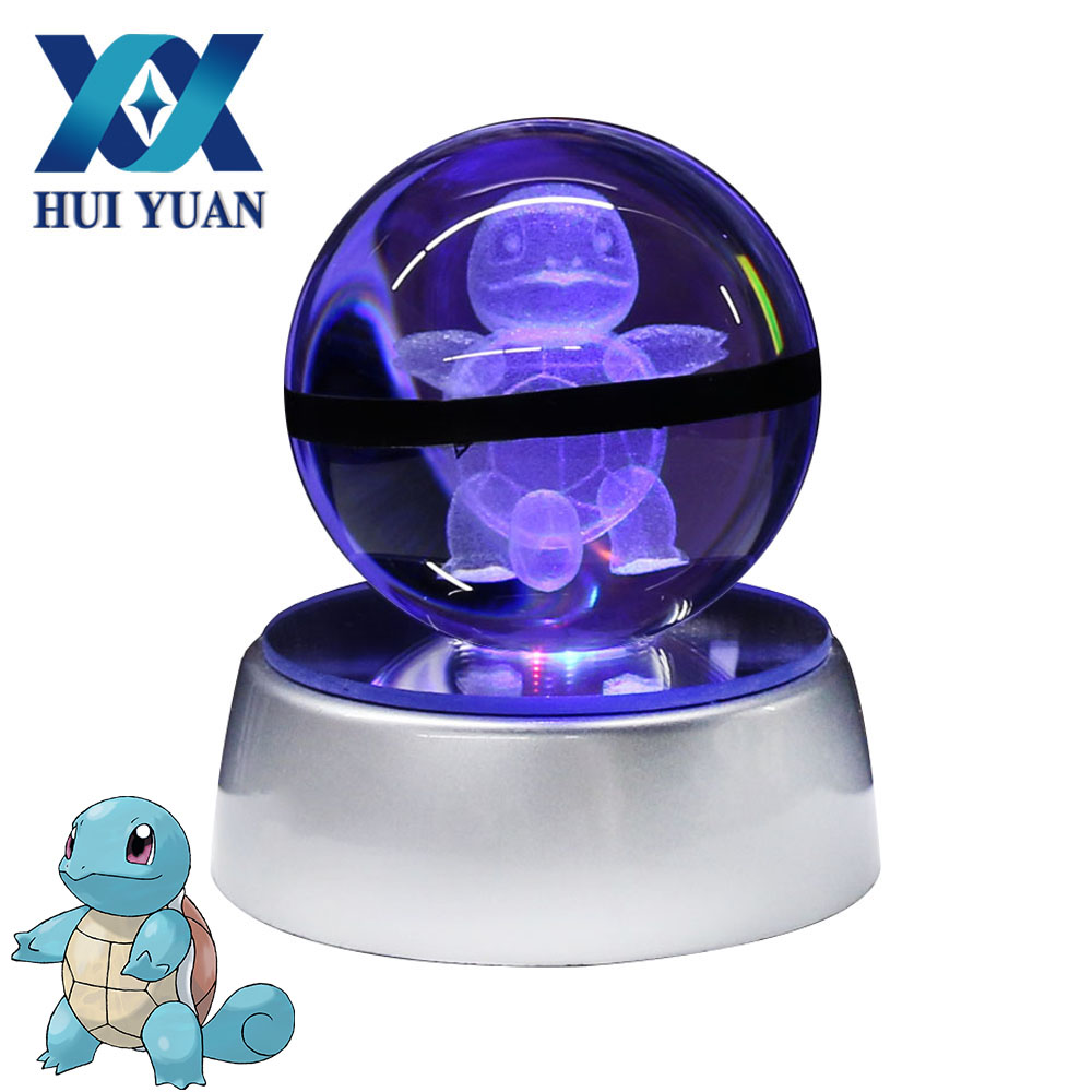 Squirtle 5CM Pokemon Crystal ball Desktop Decoration Light Glass Ball LED Colorful Base Lamp Decorative Gift by HUI YUAN Brand superman 3d crystal ball lamp desktop decoration glass ball night light led colorful rotate base funny gift hui yuan brand